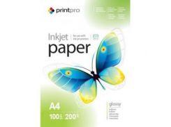 Фотобумага PrintPro глянцевая 200g/m2, A4, 100л (PGE200100A4)