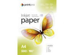 Фотобумага PrintPro матовая 190g/m2, A4, 500л (PME190500A4)