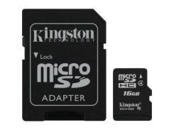 Карта памяти KINGSTON microSDHC 16 GB Class 4 + SD adapter