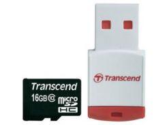 Карта памяти TRANSCEND microSDHC 16 GB Class 10 с RDP3 кардридером