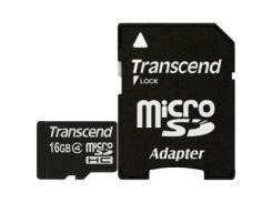 Карта памяти TRANSCEND microSDHC 16 GB Class 4 с SD адаптером