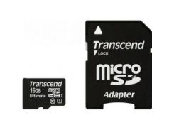 Карта памяти TRANSCEND microSDHC 16GB Class 10 UHS-I UltimateX600 c адаптером