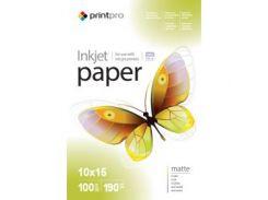 Фотобумага PrintPro матовая 190g/m2, 10x15, 100л (PME1901004R)