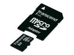 Карта памяти TRANSCEND microSDHC 8GB Class 10 UHS-I PremiumX300 с адаптером