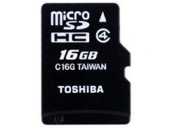 карта памяти TOSHIBA microSDHC 16 GB Class 4 M102 + SD адаптер