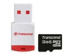 Карта памяти TRANSCEND microSDHC 32 GB Class 10 с RDP3 Card Reader