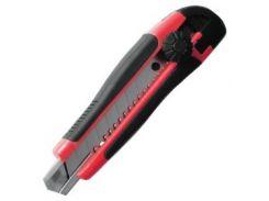 Нож с металлической направляющей под лезвие 18мм с обрезиненной рукояткой INTERTOOL HT-0503
