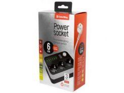 Фильтр питания ColorWay CW-CHE36B 3 розетки, 6 USB, 1.8 м, черный