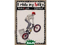 Блокнот. I ride my bike. Мальчик в красном шлеме прыгает на велике