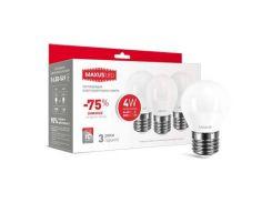 Набор 3шт: Светодиодная лампа Maxus E27 G45 F 4W нейтральный свет