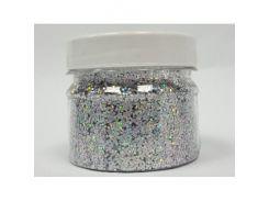 Глиттер голографический GGS/1,0 мм (1/24) серебряный Tricolor