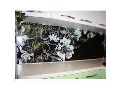 Кухонный фартук из стекла с покраской в 2 цвета