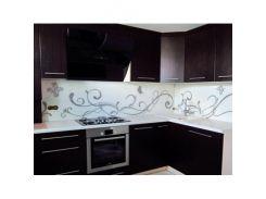 Кухонный фартук из стекла с вырезом,покраска в 2 цвета