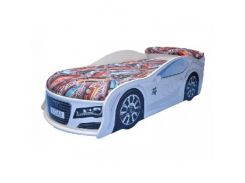 Кровать машина Audi белая 80х180 ДСП