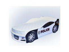 Кровать машина Jaguar полиция белая 80х170 ДСП