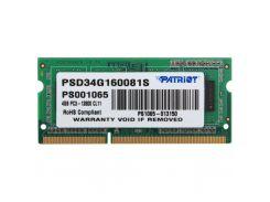 Модуль памяти для ноутбука SoDIMM DDR3 4GB 1600 MHz Patriot (PSD34G160081S)