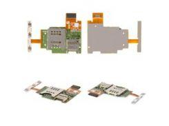Коннектор SIM-карты для мобильного телефона Sony ST26i Xperia J, с коннектором карты памяти, с боковыми кнопками, со шлейфом