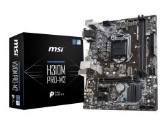 Мат.плата 1151 (H310) MSI H310M PRO-M2, H310, 2xDDR4, Int.Video(CPU), 4xSATA3, 1xM.2, 1xPCI-E 16x 3.0, 2xPCI-E 1x 3.0, ALC887, I219-V, 4xUSB3.1/6xUSB2.0, VGA/DVI-D/HDMI, mATX