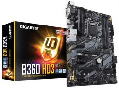 Мат.плата 1151 (B360) Gigabyte B360 HD3, B360, 4xDDR4, CrossFire, Int.Video(CPU), 6xSATA3, 2xM.2, 2xPCI-E 16x 3.0, 4xPCI-E 1x 3.0, 1xM.2 (Key E), ALC892, RTL8111H, 6xUSB3.1/6xUSB2.0, VGA/DVI-D/HDMI, A