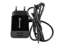Зарядное устройство Grand-X 5V 2,1A 2USB + micro USB Black (CH-35B)