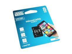 Карта памяти microSDHC, 8Gb, Class4, Goodram, SD адаптер (M40A-0080R11)