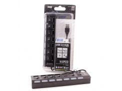 Концентратор USB 2.0 AtCom TD1082, 7xUSB, LED подсветка, отключение каждого порта