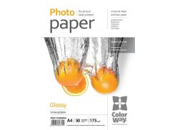 Фотобумага ColorWay, глянцевая, универсальная, A4, 175 г/м2, 50 л (PGU175050A4)