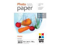 Фотобумага ColorWay, матовая, A3+, 190 г/м2, 20 л (PM190020A3+)