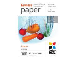 Фотобумага ColorWay, матовая, A3+, 190 г/м2, 50 л (PM190050A3+)