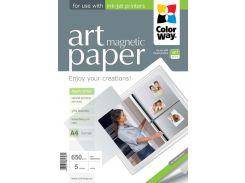 Фотобумага ColorWay, с магнитной подложкой, матовая, A4, 650 г/м2, 5 л (PMA650005MA4)