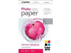 Фотобумага ColorWay, суперглянцевая, A4, 255 г/м2, 20 л (PSG255020A4)