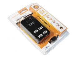 Концентратор USB 2.0, 4 ports, Black, 480 Mbps,  с кнопкой-выключателем model:p-1601  (08647)