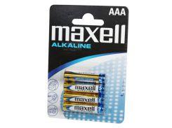 Батарейка AAA (LR03), щелочная, Maxell, 4 шт, 1.5V, Blister (MXBLR03)