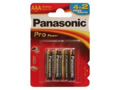 Батарейка PANASONIC AAA LR03 PRO POWER * 6(4+2) (LR03XEG/6B2F)