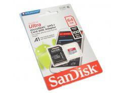 Карта памяти microSDHC, 64Gb, Class10 UHS-I, SanDisk R100MB/s Ultra, SD адаптер (SDSQUAR-064G-GN6MA)