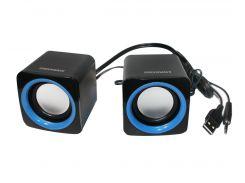 Колонки 2.0 GreenWave SA-601 Black-Blue, Sat: 2x3Вт, 80-20000Hz, пластик, RCA, USB