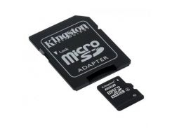 Карта памяти microSDHC, 16Gb, Class4, Kingston, SD адаптер (SDC4/16GB)