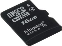 Карта памяти microSDHC, 16Gb, Class4, Kingston, без адаптера (SDC4/16GBSP)