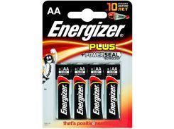 Батарейка AA (LR6), щелочная, Energizer Plus, 4 шт, 1.5V, Blister Box
