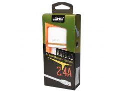 Сетевое зарядное устройство LDNIO, White, 2xUSB, 2.4A, кабель USB  Lightning (DL-AC52)