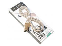 Переходник Hoco UA2 USB (мама)  USB (папа) , Gold