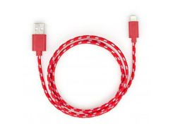 Дата кабель USB 2.0 AM to Lightning 2color nylon 1m red Vinga (VCPDCLNB31R)