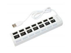 Концентратор USB 2.0, 7 ports, White, 480 Mbps, выключатель для каждого порта, Blister Q100