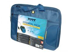 """Сумка для ноутбука 15,6"""" Port Designs, Bag Essential Pack Blue (полиэстер, 50x34.5x10 см) + мышка Port Designs Gamma Blue"""