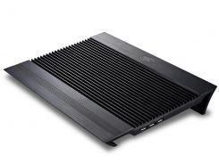 """Подставка для ноутбука до 17"""" DeepCool N8, Black, 2x14 см вентиляторы (25.1 dB, 1000 rpm), алюминевая панель, 4xUSB Hub, 380x278x55 мм, 1244 г"""