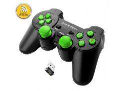 Геймпад Esperanza Gladiator GX600, Black/Green, беспроводной (2.4GHz), USB, вибрация, для PC/PS3, 2 аналоговых стика, 12 кнопок (EG108G)