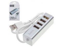 USB-хаб Hoco HB1, USB тип-A, 80 см, 4 порты, серебристый