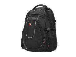 "Рюкзак для ноутбука 16"" Continent BP-304BK, Black, нейлон/полиэстер, 38 x 27,5 x 4 см"
