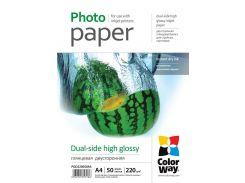 Фотобумага ColorWay, глянцевая, двухсторонняя, A4, 220 г/м2, 50 л (PGD220050A4)