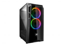 Корпус Cougar Turret RGB, Middle Tower, Mini ITX / Micro ATX / ATX, стеклянное окно, 2хRGB Fan, 206 x 461 x 420 мм